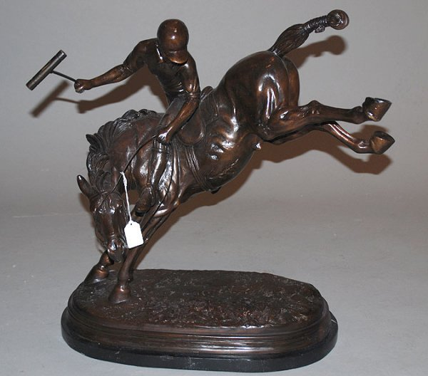 """18: Bronze polo player on horse, marble base, 20""""h x 21"""