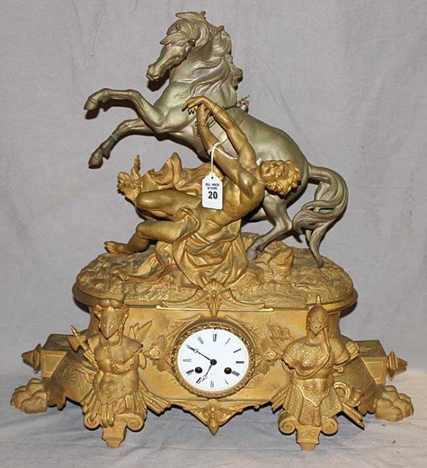 20: Fabulous gilded Romanesque clock with figural reari