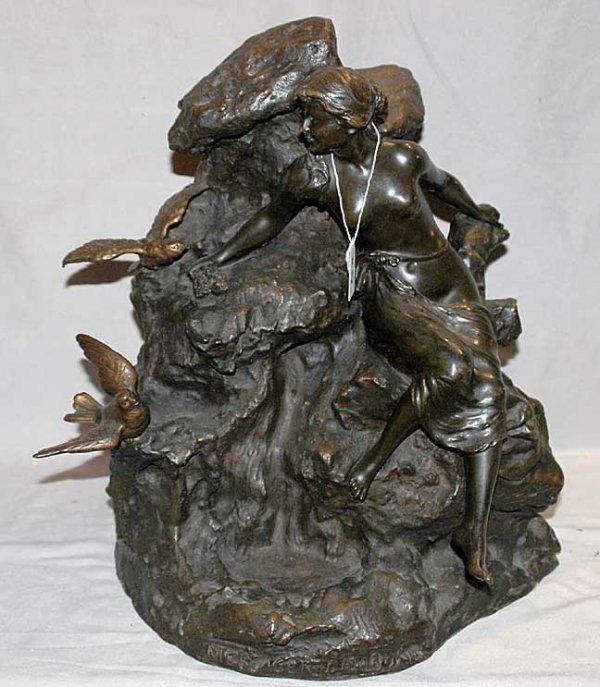 21: Vintage Bronze sculpture female signed Campagne