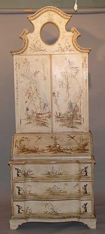 142: Italian 2 pc secretary, Venetian style painted wit