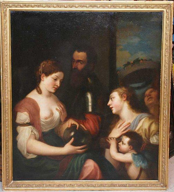 216: School of Caravaggio, Italian 18th century Old Mas