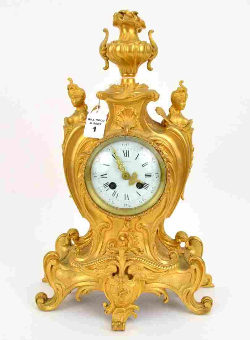 TIFFANY & CO. FRENCH GILT BRONZE CLOCK