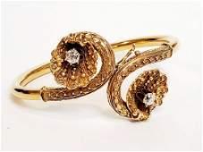Antique 14k Yellow Gold diamond Bracelet Bangle Shell