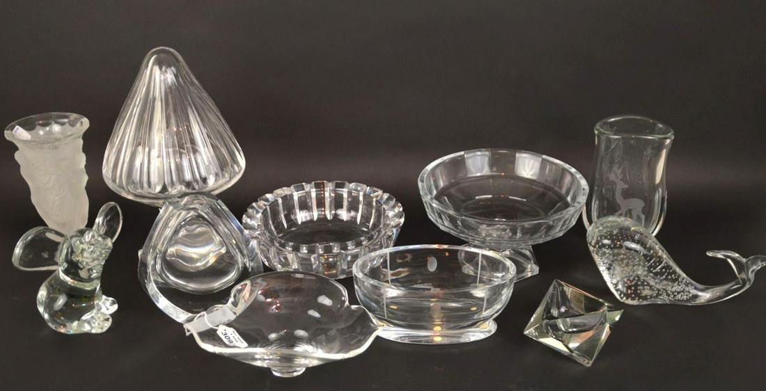 11 pieces assorted crystal, incl; bowls, vase, whale,