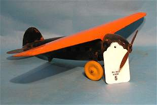 """Wyandone Lucky Lindy 1930's Plane, 18"""" wing span"""