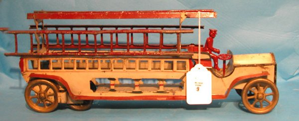 """9: """"Schieble"""", fire truck with driver, fly wheel, 21 1/"""