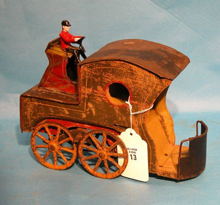 "13: ""Clark"" 1890 Up-hill climber wood and tin, horseles"