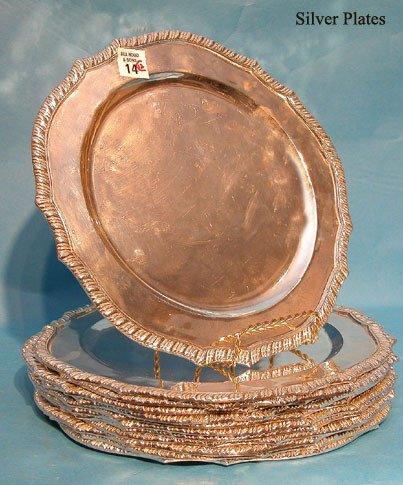 """14: (12) Mexican sterling 11 1/4"""" chargers, 250oz."""