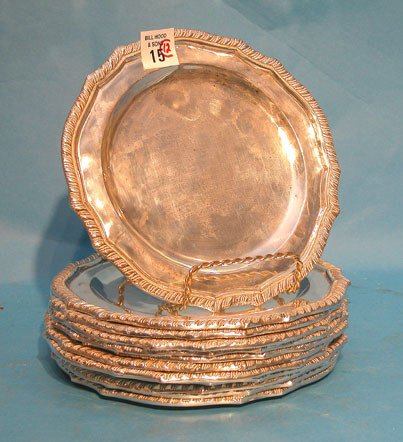 """15: (12) Mexican sterling 7 1/2"""" dessert plates, 140oz."""