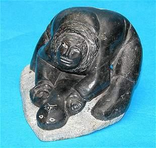 """Inuit Eskimo seal sculpture, 4""""h x 9""""l x 6""""w"""
