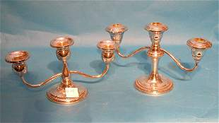 (2) low 3-light candleholders - not matching