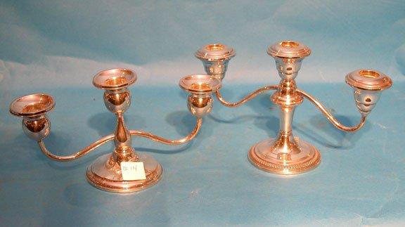 18: (2) low 3-light candleholders - not matching