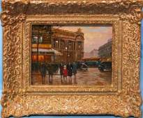 57: Paul Renard, French, oil on canvas, Paris street sc