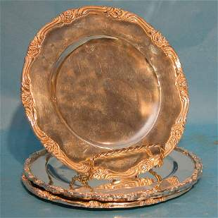 """(4) Mexican sterling 6"""" dessert plates, marked """"ca"""