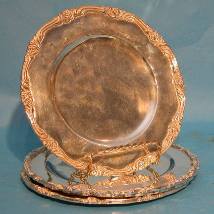 """15A: (4) Mexican sterling 6"""" dessert plates, marked """"ca"""