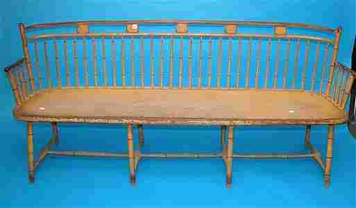 277: American 19th century Windsor bench with original