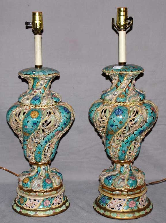 "5: Pair reticulated Capodimonte lamps, 19""h"