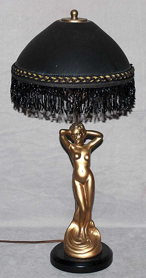 7: Gilded metal nude deco style lamp with art glass, bl