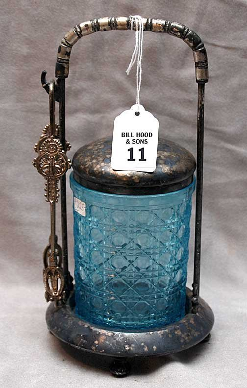 11: Victorian silver plated pickle caster with blue dai