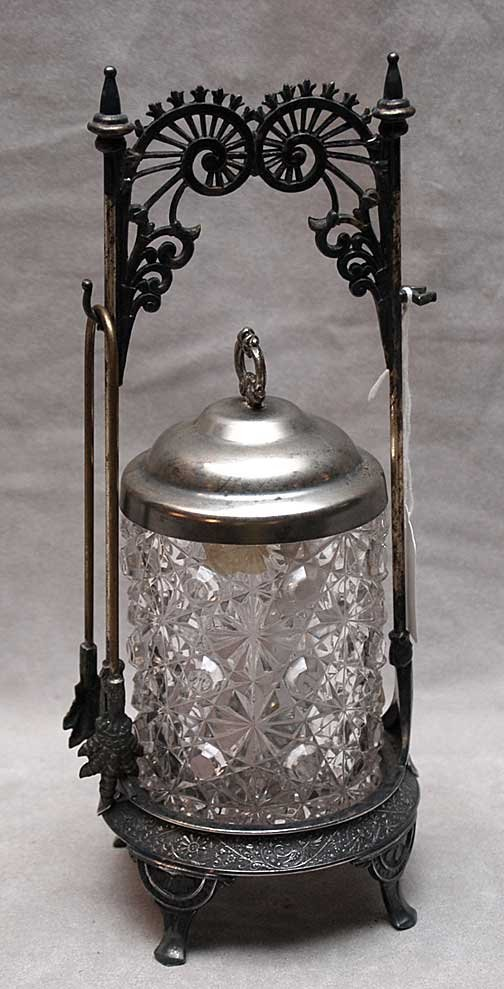 13: Victorian silver plated pickle caster with tongs, 1