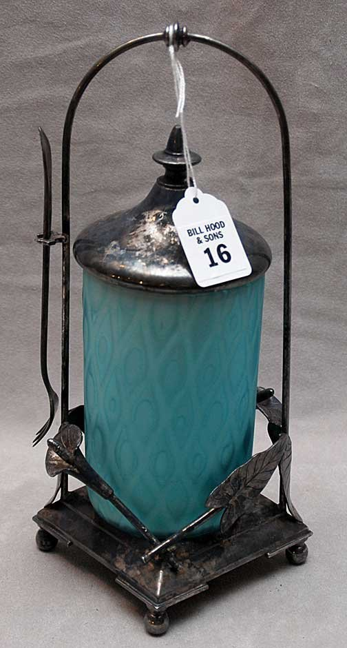 16: Victorian silver plated pickle caster, blue satin g