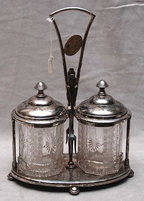 17: Victorian silver plated double caster set, w/ 2 for