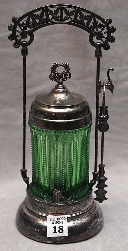 18: Victorian silver plated pickle caster, green glass