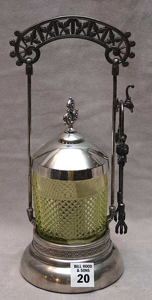 20: Victorian silver plated pickle caster with tongs, 1