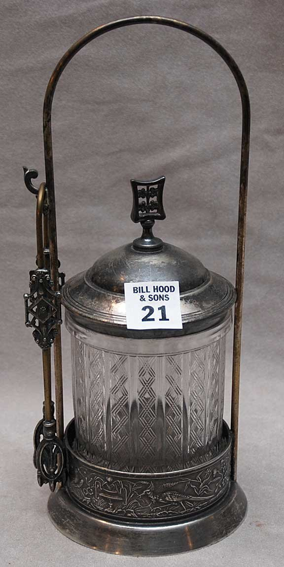 21: Victorian silver plated pickle caster with tongs, 1