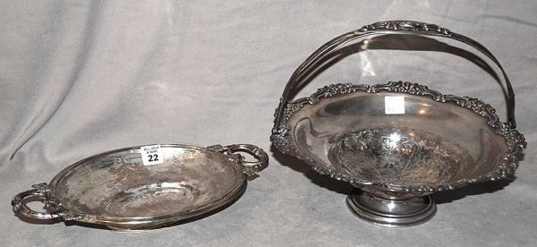 22: 2 Pieces of Silver, handled basket  (has repair to