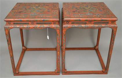 PAIR CHINESE RED LACQUERED & POLYCHROME SQUARE TABLES.