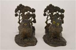Pair Austrian Bronze Owl Bookends approx 6 x 6 one