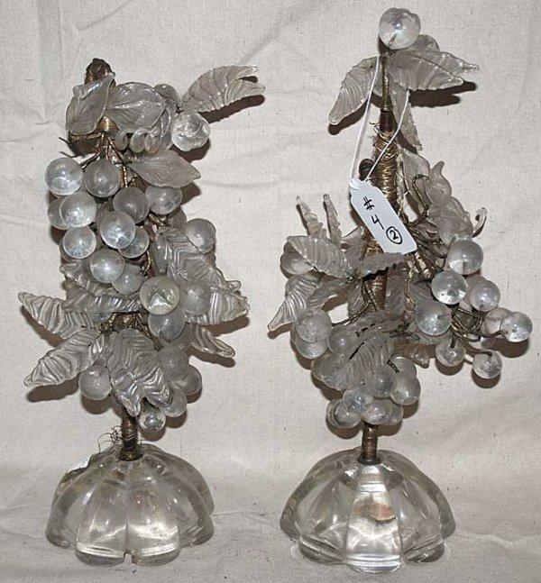 1004: Pair of crystal glass mantel pieces, fruit motif,