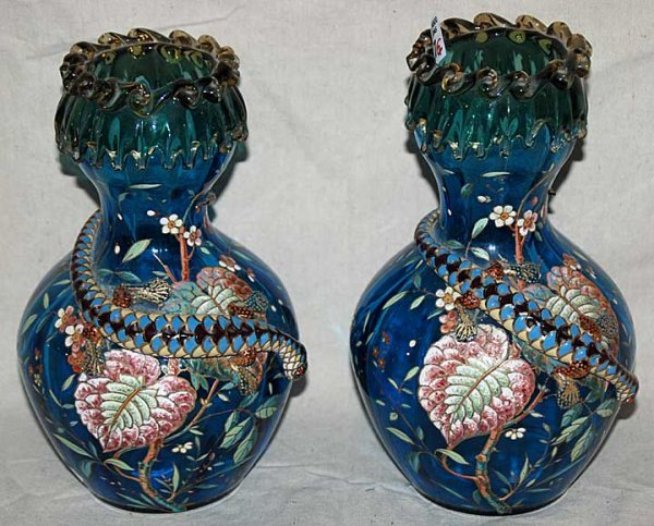 1007: Pair of blue glass (possibly Moser/Bohemian) vase