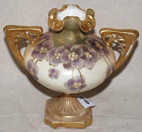 """1008: Teplitz porcelain gold floral vase, 6""""h"""