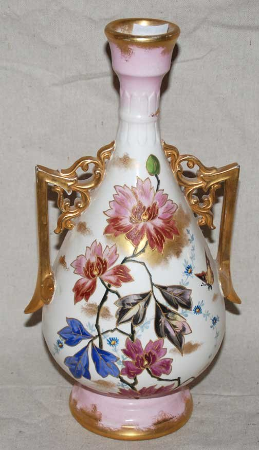 """1010: Gold and floral early 1900's vase, 12""""h"""
