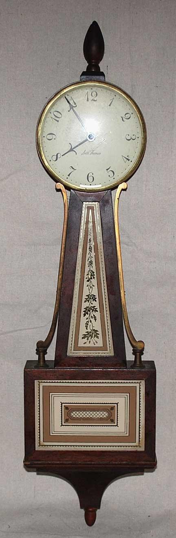 """1014: Seth Thomas Banjo style wall clock, 24""""l"""