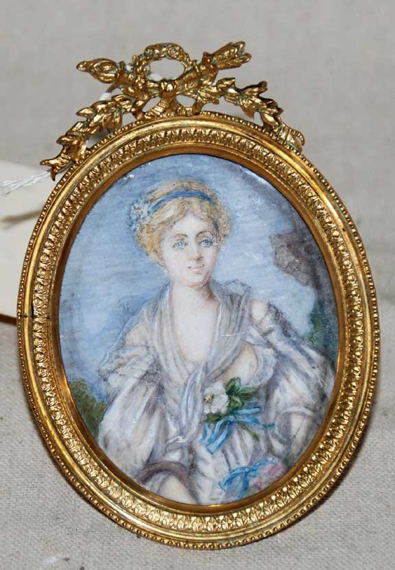 1018: Oval watercolor miniature painting, La Cruche Cas