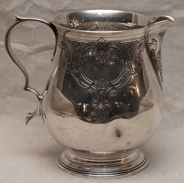 1019: Sterling Tiffany and Co. pitcher, 3 3/4 pints, 34