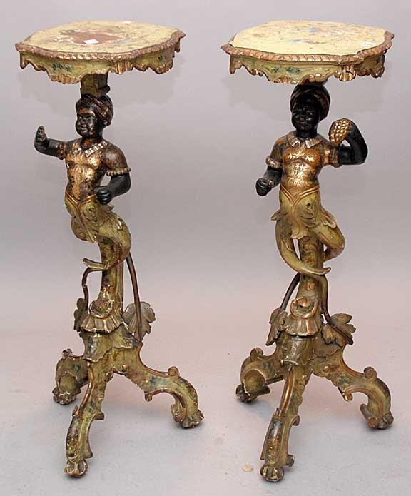1268: Pair of 18th century Venetian blackamoor, carved