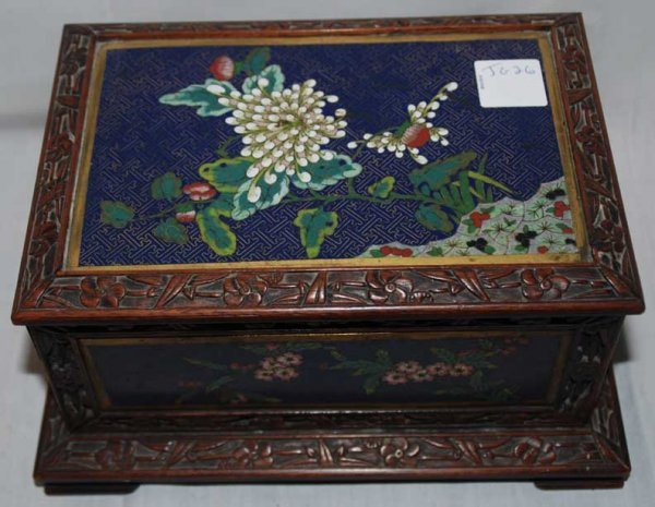 """3: Cloisonne' footed hinged jewelry box. Circa 1915, 9"""""""