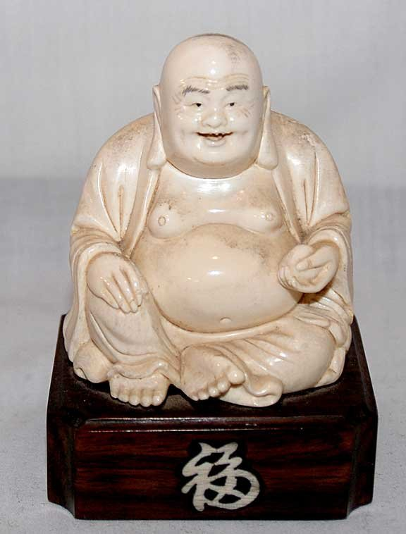 """6: Ivory laughing Buddha on affixed stand, figure is 3"""""""