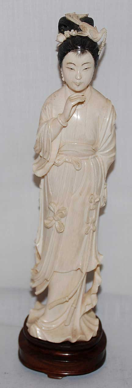 """9: Ivory lady on affixed wooden stand, figure is 10"""" h"""