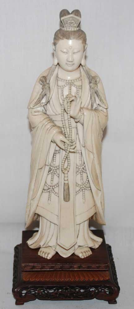 "10: Ivory barefoot princess holding beads, 9""h"