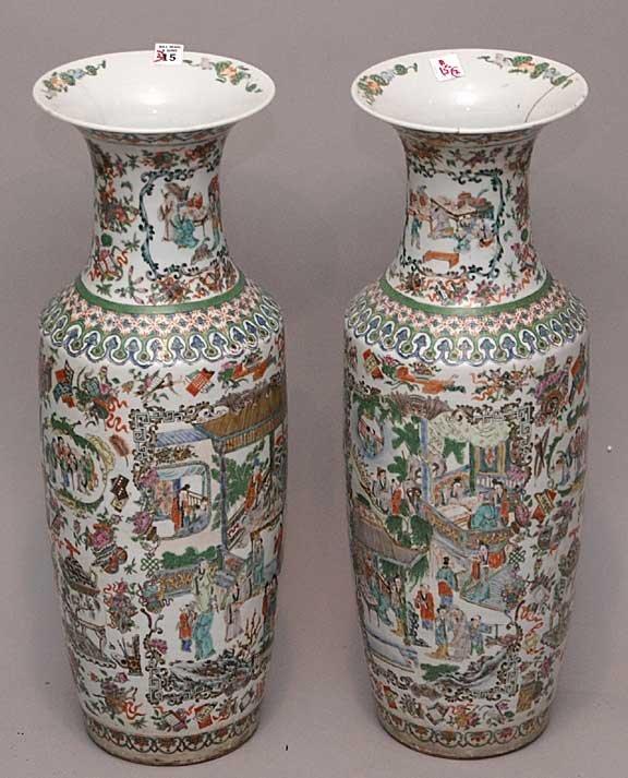 15: Pair of 19th Century Oriental temple jars, 1 has be