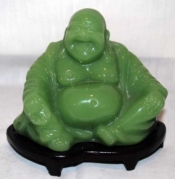 18: Green Buddha on detached wood stand