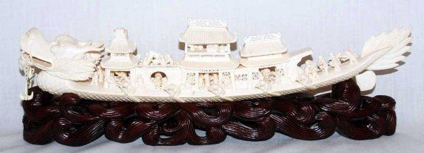 "22: fancy Ivory carved dragon boat, 14""L"