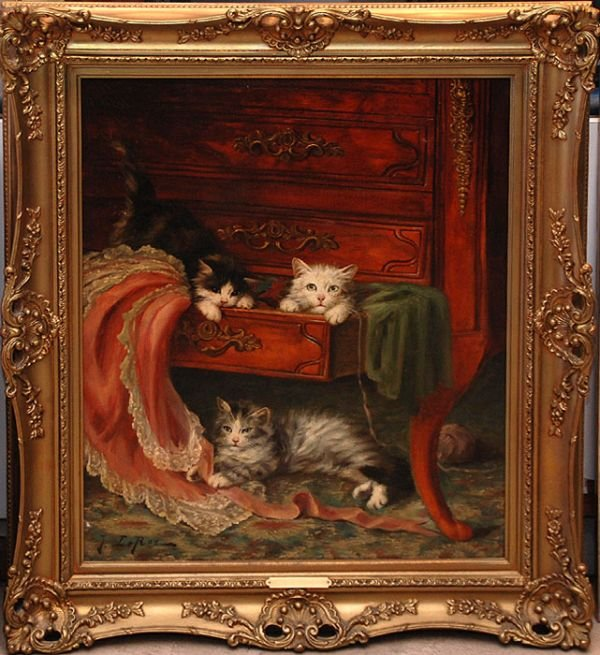 138A: Jules Leroy French oil Painting of Cats playing