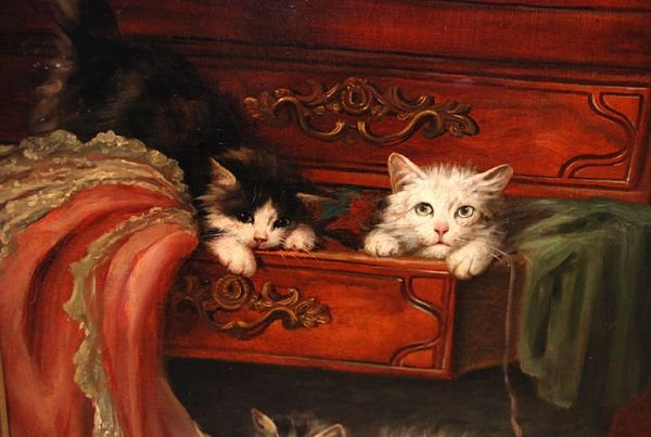 138A: Jules Leroy French oil Painting of Cats playing   - 3