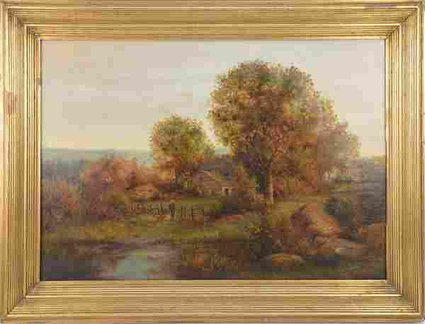 Two (2) Antique Landscapes one signed M. Lowell.